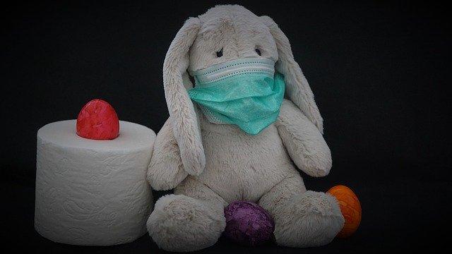 ウサギのぬいぐるみがマスクを付けている